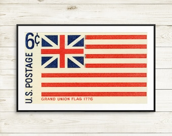 retro art prints, US flag, American Flag, Grand Union Flag, 1776, vintage postage stamp, stamp art prints, US posters, flag collector gifts