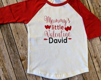 Mommy's Little Valentine's Personalized T-Shirt/Personalized Valentine's Day T-shirt/Baseball T-Shirt/Toddler T-shirt