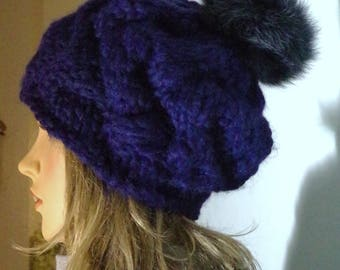 Dark blue hat with/without fur POMPOM