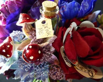 Alice in Wonderland Bridesmaids Bouquet, Alternative Wedding Flowers, COSplay, EMO, Disney, Harajuku, Steampunk, Goth