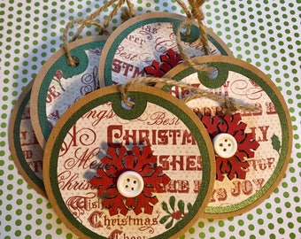Round Red Snowflake Christmas Gift Tags