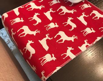 Reindeer Table Runner   Christmas Table Runner   Red White Table Runner   Deer Table Runner   Antler   Stag Table Runner   Centerpiece Decor
