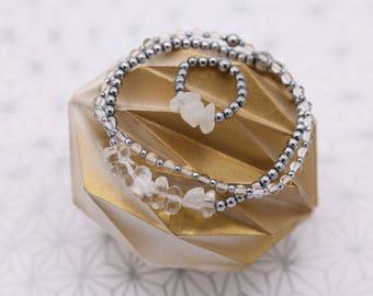 Set Bracelets and rock crystal ring