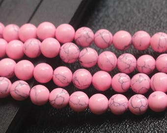 4mm 6mm 8mm 10mm 12mm Round Howlite Pink Turquoise Beads - 15 inches one strand