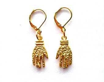Antique Gold Hand Earrings
