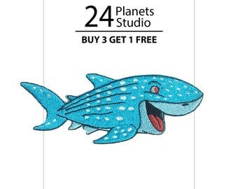 Whale Shark Fish Iron on Patch by 24PlanetsStudio