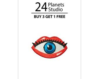 Mini Eye in Lips Iron on Patch by 24PlanetsStudio