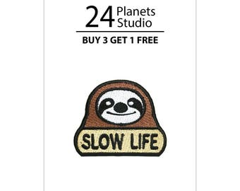 Mini Sloth Slow Life Iron on Patch by 24PlanetsStudio