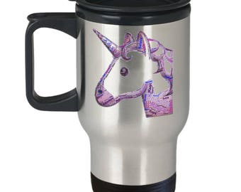 MAGICAL UNICORN! Bring Dreams and Magic and Wonder Into Each Day via Word Cloud! Insulated Stainless Steel Travel Coffee Mug With Lid