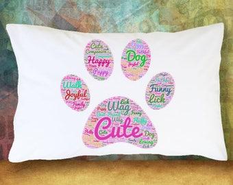 PUPPY DOG PAW Pillowcase Word Cloud Gift Decoration Room Decor Bedding Pink & Purple Microfiber Soft Pillowcase  Best Friend Gift