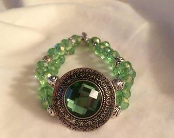 Green & Silver Double Strand Bracelet