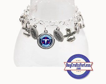 TENNESSEE Football CHARM Bracelet, Silver Plated  **FREE U.S. SHiPPiNG**