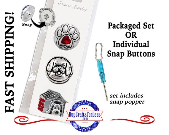 SNaP METAL DOG, 18mm Rhinestone Snap Buttons, Packaged 3 Snap Buttons or Individual INTERCHaNGABLE Buttons +FREE Shipping & Discounts