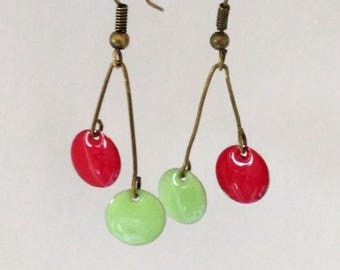 Cherry original earrings enamel two-sided passion red and green of spring water was