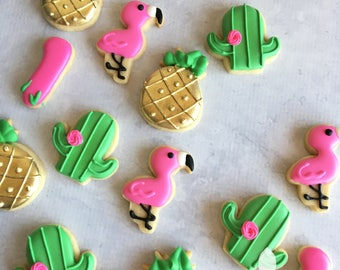 2 Dozen Mini Pink Flamingos Gold Pineapples Cactuses Birthday Cookies