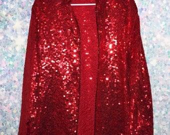 Vintage 80s Sequin Red Oversized Jacket