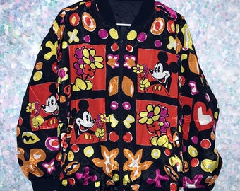 Gorgeous Vintage Mickey Mouse Silky Bomber Jacket
