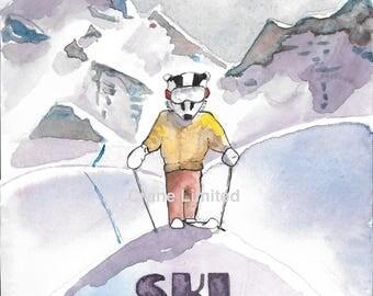 Printable Nursery Art Series: Badger Skiing