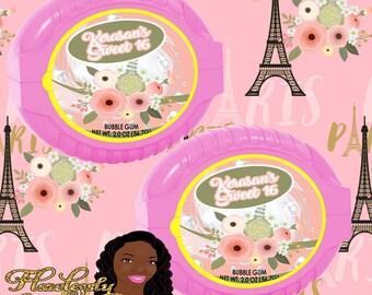 Paris Bubble Gum Label Paris Baby Shower Paris Birthday Party Sweet 16 Birthday Party Digital or Printed