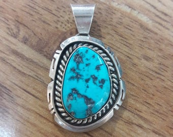 Vintage Native American Navajo Handmade Sterling Silver Turquoise Pendant