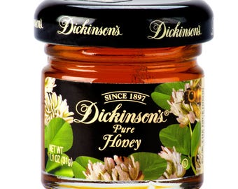 12 Ct 1.1oz Dickenson's Pure Clover Honey Bottle, Honey Jars, Party, Favors, Wedding, Baby Shower, Bachelorette Party, Birthday Party, Honey