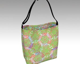 Flamingo Love Tote Bag, Lime Green Tote, Book Tote, Grocery Bag, Tote Bag, Printed Tote Bag inside and out, Customized Strap