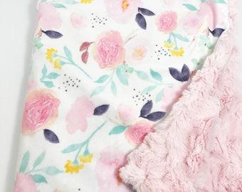 Floral Baby Blanket - Minky Baby Blanket - Pink Baby Blanket - Watercolor Floral - Baby Blanket - Purple Baby Blanket - Mint Baby Blanket