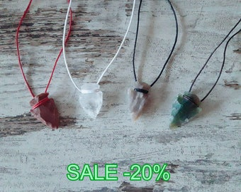 Pendant crystal tip and gemstone jewelry