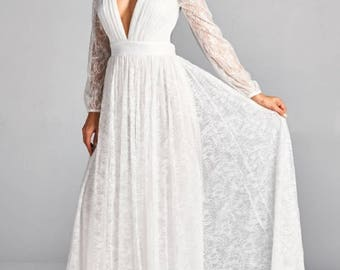 Women's White Lace Long Sleeve Wedding Dress/Bridal Dress/Bridal Gown/Lace Bridal Gown/Boho Bridal Gown