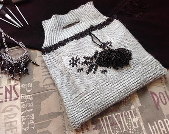 Knitted Bag With Ornament, Folk Style Bag, Mother's Day Gift