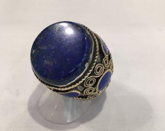 Bronze ring and lapis lazuli