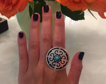 Turquoise Circle Ornament Ring