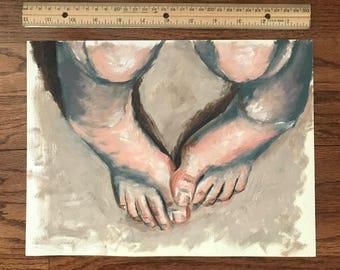 """Original Oil Painting, """"Piggies"""" 9x12"""""""