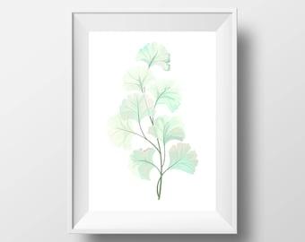 "Simple Green Watercolor Leaves PRINTABLE Art | Teal Leaf Design Decor Printable 11x14"" 8x10"" | Modern Minimal Poster"