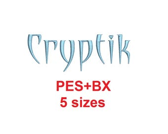 Cryptic embroidery font formats bx (which converts to 17 machine formats), + pes, Sizes 0.25 (1/4), 0.50 (1/2), 1, 1.5 and 2""