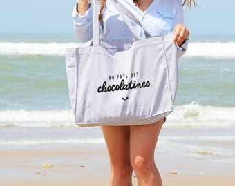 Gray beach bag