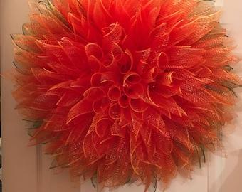 dahlia wreath, wreath for front door, winter wreath, flower wreath, ready to ship, mesh wreaths, spring wreath, custom door wreath, decor