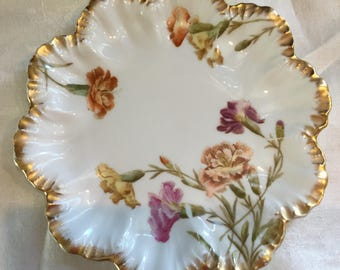 Antique Limoges A Lanternier / Tresseman & Vogt Cabinet Plate / Purple, Yellow and Coral Flowers / Brushed Gold Trim / Late 1800's