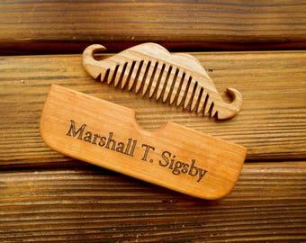 Personalized beard comb Wood comb Beard Mustache comb Shaving gift Beard care Pocket comb Barber shop decor Barber gift Beard grooming gift