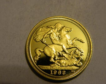 1963 Great Britain Gold Plated Sovereign Copy Coin - St. George on Horseback Slaying the Dragon