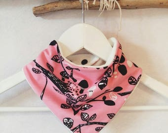 Bandana bib pink organic cotton and bamboo