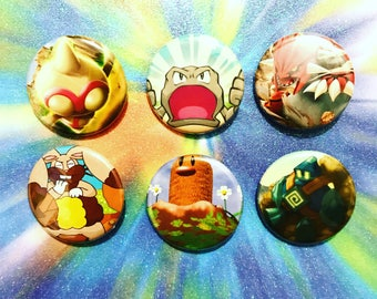 Choose Your Buttons - Set Of Six Ground Type Pokemon Buttons!