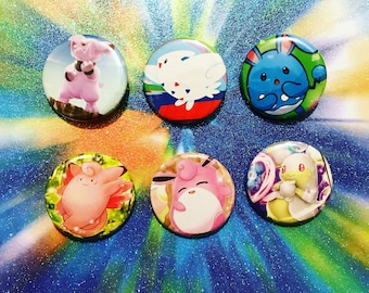Choose Your Buttons - Set Of Six Fairy Type Pokemon Buttons!