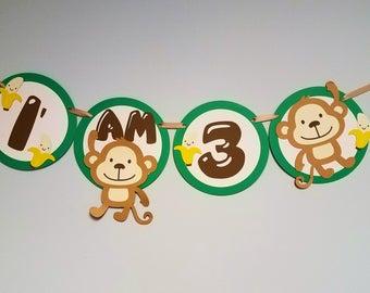 Monkey Birthday Banner - Baby Shower Banner