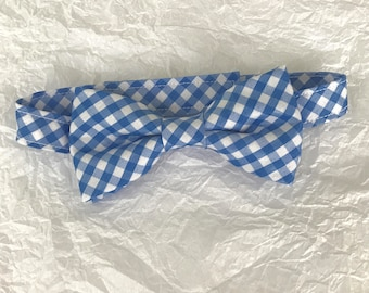 Little Boys Blue Gingham Bow Tie; Toddlers Blue Checked Bow Tie; Blue & White Checked Baby Bow Tie; Boys Blue Gingham Bowtie; Adjustable Tie