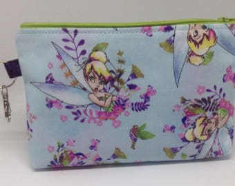 Tinker Bell Zipper Pouch ~ Cosmetics Bag ~ Disney Gift ~ Watercolor Fairy ~ Wristlet ~ Pencil Pouch