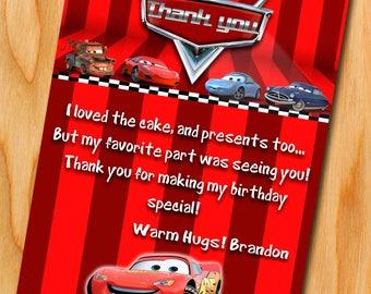 Cars 3 Birthday, Disney Cars 3 thank you card, Cars 3 Invitation, Disney Cars 3 Birthday Invitation, Cars Party, Cars thank you card