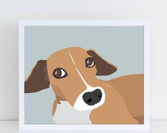 Physical Custom Dog Portrait, Pop Art Pet Print, Custom Illustration