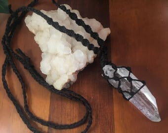 Black macrame crystal necklace