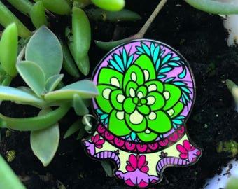 Magic succulent enamel pin